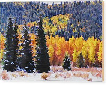 Shivering Pines In Autumn Wood Print by Diane Alexander