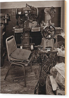 Shoe Hospital - Sepia Wood Print by Christopher Holmes