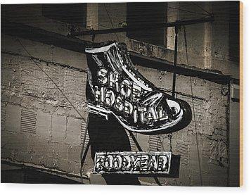 Shoe Hospital Wood Print by Phillip Burrow