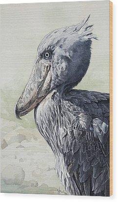 Shoebill Stork Portrait Wood Print by Emmanuel De Guzman