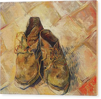Wood Print featuring the painting Shoes                                   by Vincent van Gogh