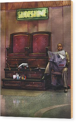 Shoes - Lee's Shoe Shine Stand Wood Print by Mike Savad