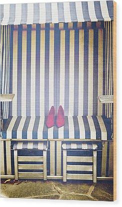 Shoes In A Beach Chair Wood Print by Joana Kruse