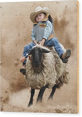 Shoot Low Sheriff They're Riding Sheep Wood Print by Ron  McGinnis