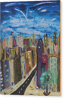 Shooting Stars Over Old City Wood Print by Mary Carol Williams