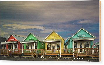 Shops Of Ocean Shores Wood Print