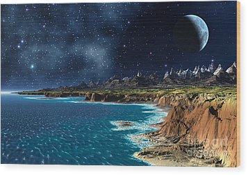 Shore And Ocean Wood Print by Heinz G Mielke