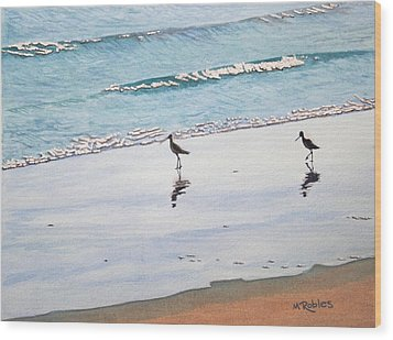 Shore Birds Wood Print by Mike Robles
