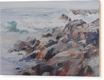 Shore's Rocky Wood Print