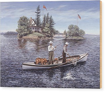 Shore Lunch On The Line Wood Print by Richard De Wolfe
