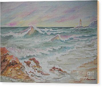 Wood Print featuring the painting Shoreline Breakers by Carol Grimes
