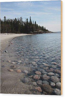 Shoreline Serenity Wood Print by Laura Wergin Comeau