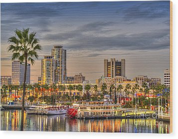 Shoreline Village Rainbow Harbor Marina Wood Print by David Zanzinger