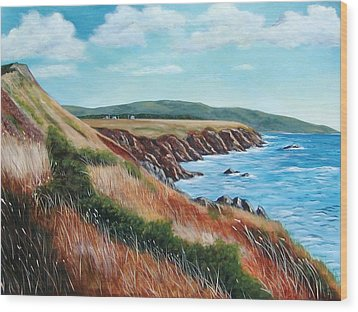 Shores Of Cape Breton Wood Print by Sharon Steinhaus