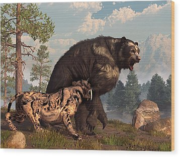 Short-faced Bear And Saber-toothed Cat Wood Print by Daniel Eskridge