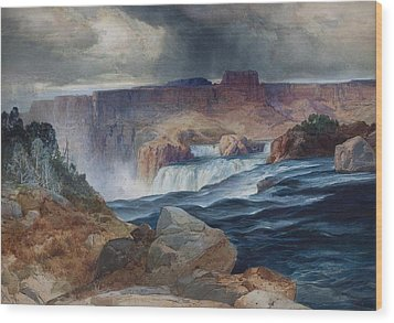 Shoshone Falls Idaho Wood Print by Thomas Moran