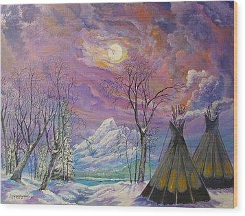 Shoshone Moon Wood Print