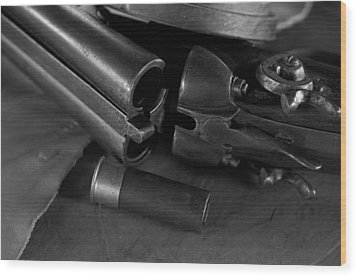 Shotgun Black And White Wood Print by Wilma  Birdwell