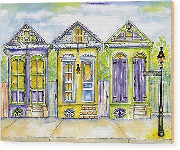 Shotgun Houses Wood Print by Catherine Wilson