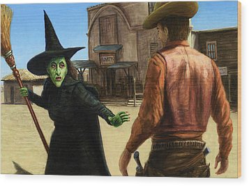 Wood Print featuring the painting Showdown by James W Johnson