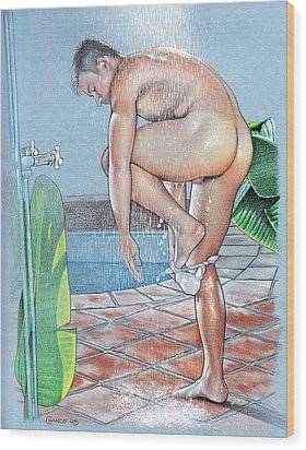 Shower Wood Print by Chance Manart