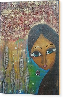 Wood Print featuring the mixed media Shower Of Roses by Prerna Poojara