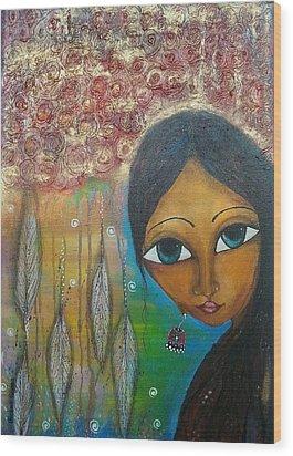 Shower Of Roses Wood Print by Prerna Poojara