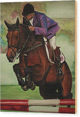 Showjumping Wood Print by Lucy Deane