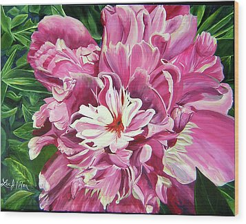 Wood Print featuring the painting Showy Pink Peony by Lee Nixon