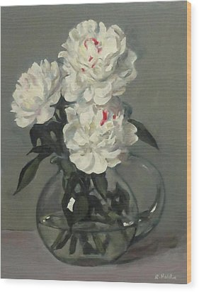 Showy White Peonies In Glass Pitcher Wood Print