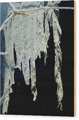 Shredded Curtains Wood Print