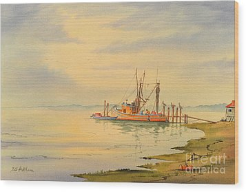 Wood Print featuring the painting Shrimp Boat Sunset by Bill Holkham