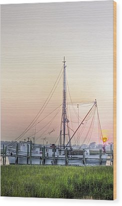 Shrimp Boat Sunset Wood Print by Drew Castelhano