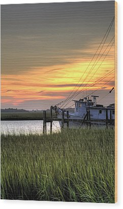 Shrimp Boat Sunset Wood Print by Dustin K Ryan