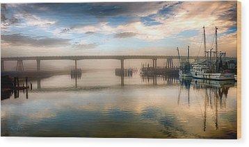 Shrimp Boats At Sunrise Wood Print