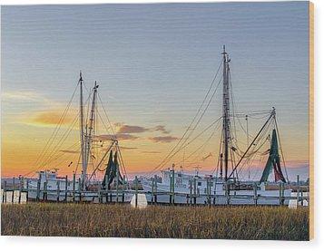 Shrimp Boats Wood Print by Drew Castelhano