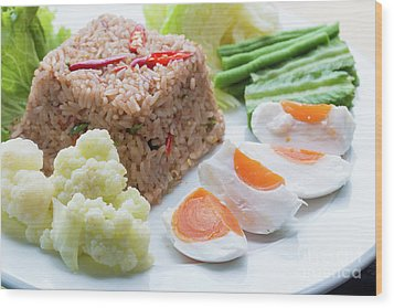 Wood Print featuring the photograph Shrimp Paste Fried Rice by Atiketta Sangasaeng