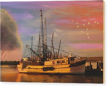 Shrimpers At Dock Wood Print by J Griff Griffin