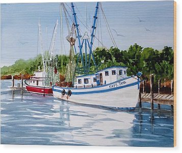 Shrimpers Wood Print