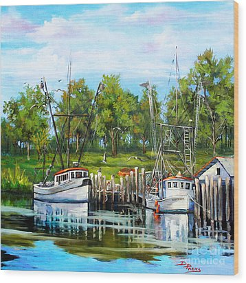 Shrimping Boats Wood Print by Dianne Parks