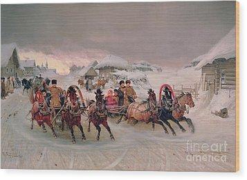 Shrovetide Wood Print by Petr Nicolaevich Gruzinsky