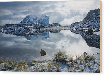 Shuksan In Fog Wood Print by Idaho Scenic Images Linda Lantzy