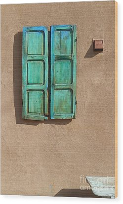 Shutter And Bench Wood Print by Ann Johndro-Collins