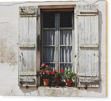 Shutters And Geraniums Wood Print by Marion McCristall