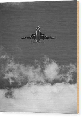 Shuttle Enterprise In Black And White Wood Print by Anthony S Torres