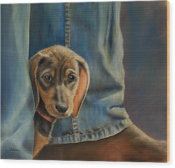 Wood Print featuring the painting Shy Boy by Ceci Watson