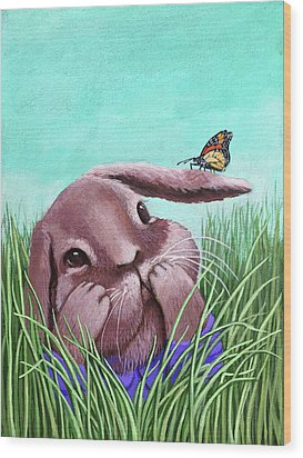 Wood Print featuring the painting Shy Bunny - Original Painting by Linda Apple