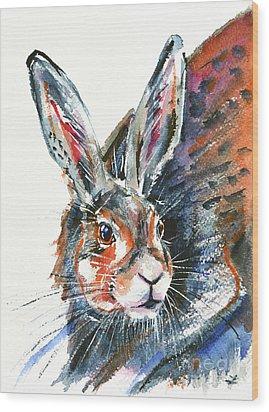 Wood Print featuring the painting Shy Hare by Zaira Dzhaubaeva
