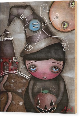 Shy Witch Wood Print by  Abril Andrade Griffith