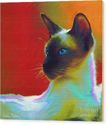 Siamese Cat 10 Painting Wood Print by Svetlana Novikova
